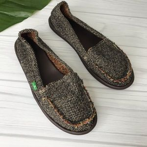 Sanuk Loafers Brown Tweedy II Slip On Size 11